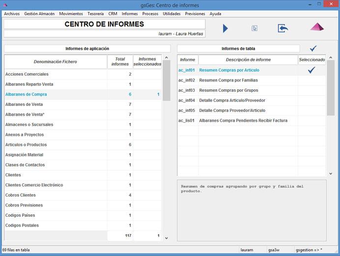 Centro de informes. Pantalla configurar informes. Solución Software ERP de Galdón Software
